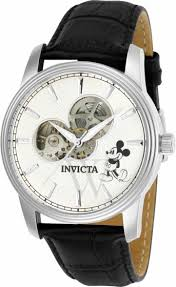 men s disney limited edition black leather silver skeletal men s disney limited edition black leather silver skeletal display dial invicta shop by brand world of watches