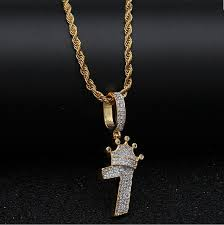 bling bling number 7 with crown necklace for men full iced cubic zircon charm silver gold chain pendant hiphop jewelry