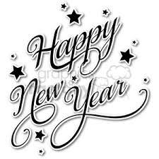 Royalty Free Cartoon Happy New Year Vector Word Art Sticker Clipart
