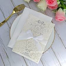 Elegant Invitation Cards Ivory And White Ribbon Laser Cut Wedding Invitations Elegant Invitation Cards For Quinceanera Bridal Shower Engagement Graduation Wedding Invitations