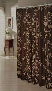 Chocolate Brown Faux Silk Fabric Shower Curtain With Taupe Flocked