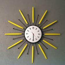 vintage sunburst clock mid century