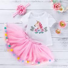 Designer Newborn Baby Girl Clothes 2019 Ins Baby Girl Unicorn Print Princess Tutu Skirts 0 24 Month Newborn Infant Designer Romper Dresses Cotton Rompers Tutu Skirt Headband S From
