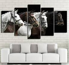 Cheap Horse Posters 5 Pcs Wall Art Canvas Painting 5 Piece Hd Print Black And Brown Horse Race Posters And Prints Canvas Art Home Decor