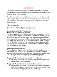 w directions paragraph narrative