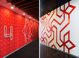 office wall designs. wall graphics in this office were inspired by indian folk art designs o