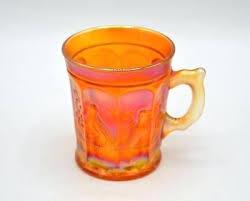 marigold carnival glass vintage marigold carnival glass mug singing birds marigold carnival glass candle holder