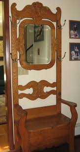 Antique Oak Coat Rack Impressive Antique Oak Hall Tree Coat Rack Chair Design Pinterest Hall