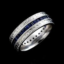 mens wedding bands with sapphires. hand crafted antique style princess sapphire men\u0027s wedding band 7mm mens bands with sapphires o
