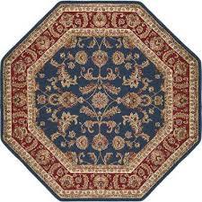 sensation navy blue 8 ft octagon transitional area rug