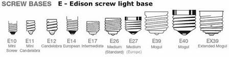 type of lighting. Light Bulb Bases E Style Chart Type Of Lighting