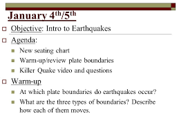 Unit 5 Earthquakes January 4 Th 5 Th Objective Intro
