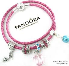 authentic pandora leather bracelet new honeyle pink genuine pandora leather pandora leather wrap with non branded beads charms hp1 by