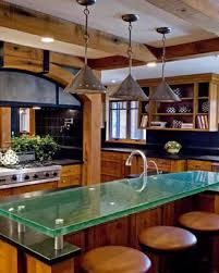 glass countertops and breakfast bars