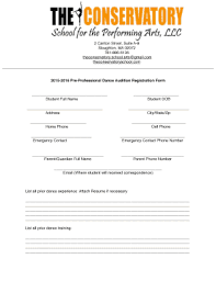 2015-2016 Pre-Professional Dance Audition Registration Form Fill ...