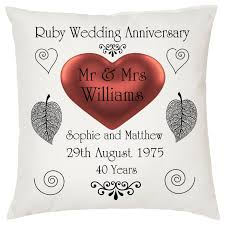 ruby wedding keepsake cushion personalised names date ideal anniversary gift