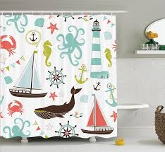 warm tour fabric shower curtain whale sharke and octopus c crab marine lighthouse ocean 71