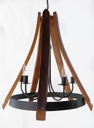 cervantes wine barrel chandelier recycled oak staves and hoop pendant light ceiling lamp