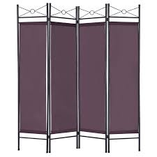 room dividers office. costway brown 4 panel room divider privacy screen home office fabric metal frame dividers a