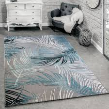 Teppich 3 D Effekt Palmblätter Muster Türkis Teppichde