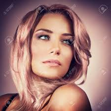 Closeup Portrait Of A Beautiful Sexy Woman With Trendy Pink Pastel