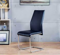 leather and chrome chair. More Views. 2x Lorenzo Black Faux Leather Chrome Dining Chairs And Chair H