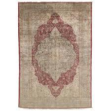 antique persian silk tabriz carpet handmade oriental rug red ivory gold for