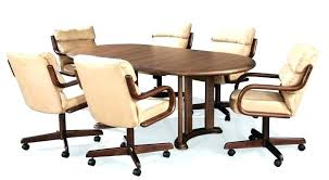 dining room chairs with wheels and arms upholstered chair