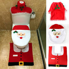 santa toilet seat cover with rug bathroom mat