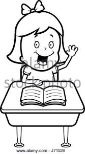 student desk clipart black and white. a happy cartoon child student at desk in school. - stock photo clipart black and white