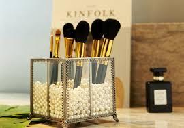 vine metal makeup brush holder box eyeliner pencil organizer free white pearl