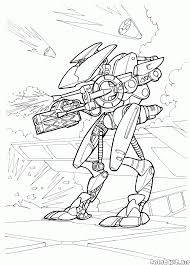 coloring page big war robot android guard