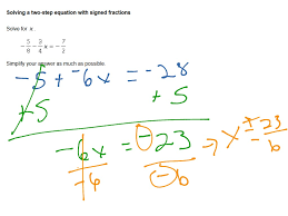solving a two step equation with signed fractions math algebra showme