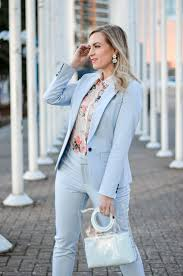 Light Blue Work Pants Outfit Blonde Woman Wearing Baby Blue Pant Suit In 2020 Baby Blue