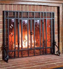 beveled glass fireplace screen hearth plow