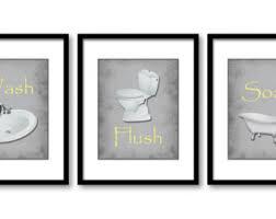 bathroom decor bathroom print grey gray parchment set of 3 bathroom art prints yellow flush wash soak wall decor modern minimalist on yellow bathroom wall art with yellow gray prints etsy