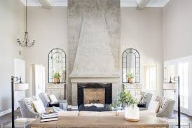 gray plaster fireplace mantel