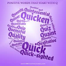 positive words that start with q letter word cloud