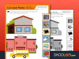 Each free worksheet has 4 patterns and kids are instructed to cut and paste the pictures to complete each pattern. Cut And Paste House And School Objects Free Worksheet For Kids