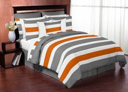 Sweet Jojo Designs Gray and Orange Stripe Collection 3pc Full/Queen Bedding  Set by