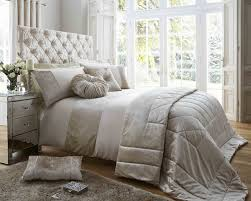 ss matt satin and crushed velvet bedding set in oyster