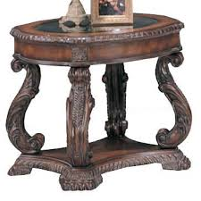coaster furniture antique brown wood glass round end table