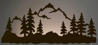 tree scene metal wall art: quot mountain scene led back lit lighted metal wall art