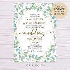Microsoft Office Wedding Invitation Template Watercolor Leaves With Gold Frame Wedding Invitation Template