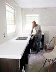 White Kitchen White Countertops Diy White Concrete Countertops Chris Loves Julia