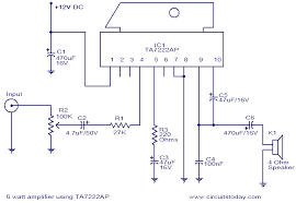 connecting a 5w 12vdc amp to a 12vdc telephone intercom system 6w amplifier using ta7222ap png