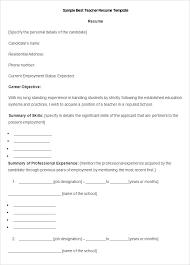 Teaching Resume Template Word Free Sample Resume Ms Word Teaching ...