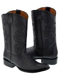 men s full leather cowboy boots square toe