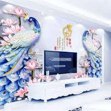 Beibehang Three Dimensional Fashion Wallpaper Embossed Peacock Jewelry Magnolia Flower Vase Tv Background Wall Papers Home Decor