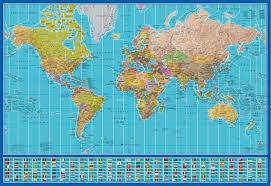 World Time Zones W Flags Frameless Board 39x27in